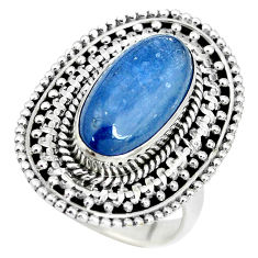 925 sterling silver 6.72cts natural blue kyanite solitaire ring size 7.5 p32800