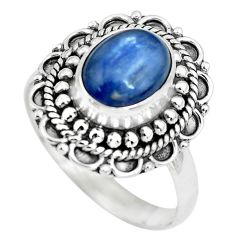 925 sterling silver 3.37cts natural blue kyanite solitaire ring size 8 p63104