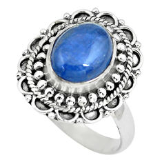 925 sterling silver 3.99cts natural blue kyanite solitaire ring size 8.5 p63113