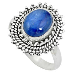 925 sterling silver 4.03cts natural blue kyanite solitaire ring size 8.5 p63117