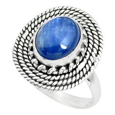 925 sterling silver 4.34cts natural blue kyanite solitaire ring size 8.5 p63364