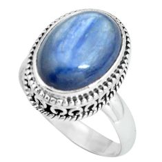 925 sterling silver 6.89cts natural blue kyanite solitaire ring size 8 p67520
