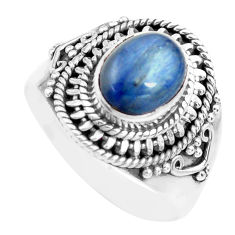 925 sterling silver 3.01cts natural blue kyanite solitaire ring size 8.5 p71704