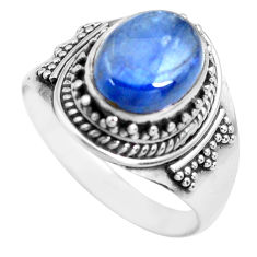 925 sterling silver 4.52cts natural blue kyanite solitaire ring size 7 p71710