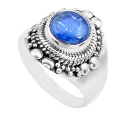 925 sterling silver 3.28cts natural blue kyanite solitaire ring size 7 p71715