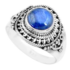925 sterling silver 3.13cts natural blue kyanite solitaire ring size 8.5 p71724