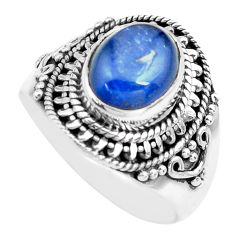 925 sterling silver 4.40cts natural blue kyanite solitaire ring size 7.5 p71728