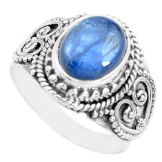925 sterling silver 4.22cts natural blue kyanite solitaire ring size 7.5 p71732