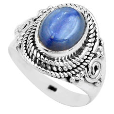 925 sterling silver 4.38cts natural blue kyanite solitaire ring size 7 p81184