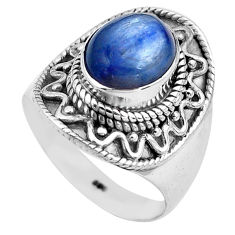 925 sterling silver 4.21cts natural blue kyanite solitaire ring size 7 p81193