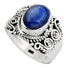925 sterling silver 4.21cts natural blue kyanite solitaire ring size 8 p88869