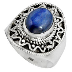 925 sterling silver 4.55cts natural blue kyanite solitaire ring size 8 p90573
