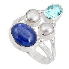 925 sterling silver 8.54cts natural blue kyanite topaz pearl ring size 8 p90824