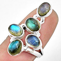 925 sterling silver 7.51cts natural blue labradorite oval ring size 6.5 p77611