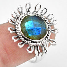 925 sterling silver 5.36cts natural blue labradorite ring jewelry size 8 p74257
