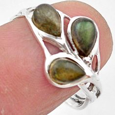 925 sterling silver 2.94cts natural blue labradorite ring size 6.5 p83435