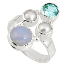 925 sterling silver 6.58cts natural blue lace agate topaz ring size 8.5 p90751