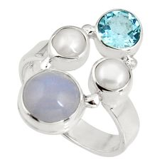 925 sterling silver 6.31cts natural blue lace agate topaz ring size 7.5 p90754