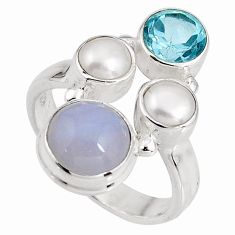 925 sterling silver 5.80cts natural blue lace agate topaz ring size 6.5 p90760