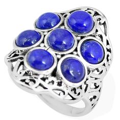 925 sterling silver 6.20cts natural blue lapis lazuli round ring size 7 p56092