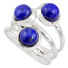 925 sterling silver 3.29cts natural blue lapis lazuli round ring size 7 p85807