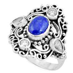 925 sterling silver 4.21cts natural blue lapis lazuli topaz ring size 9 p61183