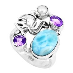 925 sterling silver 7.23cts natural blue larimar amethyst ring size 8 p47687