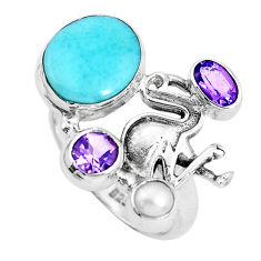 925 sterling silver 7.98cts natural blue larimar amethyst ring size 8 p47736