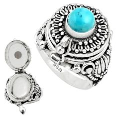 925 sterling silver 2.25cts natural blue larimar poison box ring size 8 p75555