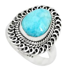 925 sterling silver 4.55cts natural blue larimar solitaire ring size 7 p71112