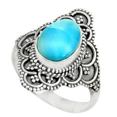 925 sterling silver 4.46cts natural blue larimar solitaire ring size 8 p71132