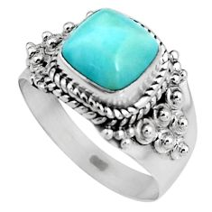 925 sterling silver 3.36cts natural blue larimar solitaire ring size 7 p92516