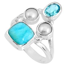 925 sterling silver 6.58cts natural blue larimar topaz pearl ring size 8 p90708