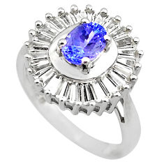 925 sterling silver 5.38cts natural blue tanzanite topaz ring size 7 c4292