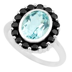925 sterling silver 6.83cts natural blue topaz black topaz ring size 8.5 p62073
