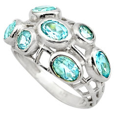 925 sterling silver 6.26cts natural blue topaz oval ring jewelry size 8 p83136