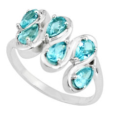 925 sterling silver 4.42cts natural blue topaz pear ring jewelry size 6.5 p37219