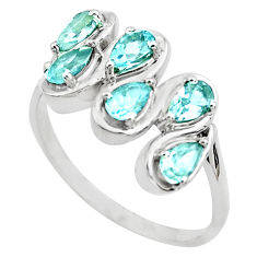 925 sterling silver 4.30cts natural blue topaz pear ring jewelry size 8.5 p82849