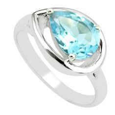 925 sterling silver 2.69cts natural blue topaz pear solitaire ring size 8 p62244