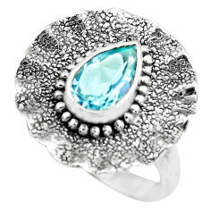 925 sterling silver 2.13cts natural blue topaz pear solitaire ring size 7 p72399
