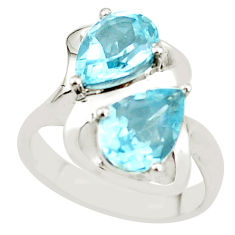 925 sterling silver 5.68cts natural blue topaz ring jewelry size 7 p62084