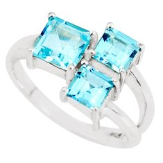 925 sterling silver 4.06cts natural blue topaz ring jewelry size 6.5 p62104