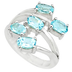 925 sterling silver 5.51cts natural blue topaz ring jewelry size 5.5 p73208