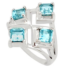 925 sterling silver 2.28cts natural blue topaz ring jewelry size 7.5 p81736