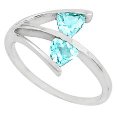 925 sterling silver 1.66cts natural blue topaz ring jewelry size 9 p81903
