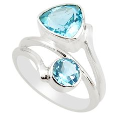 925 sterling silver 6.54cts natural blue topaz ring jewelry size 7.5 p83188