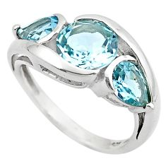 925 sterling silver 6.72cts natural blue topaz ring jewelry size 6.5 p83468