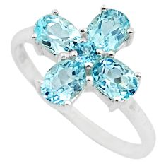 925 sterling silver 4.29cts natural blue topaz ring jewelry size 7.5 p83524