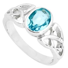 925 sterling silver 2.33cts natural blue topaz solitaire ring size 7.5 p36904