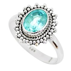 925 sterling silver 2.11cts natural blue topaz solitaire ring size 8 p51304